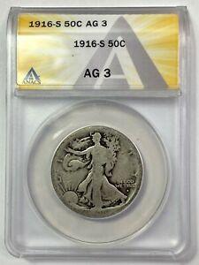1916-S Walking Liberty 50C Half Dollar - 90% SILVER - ANACS AG 3