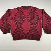 Vintage Red Black Coogi Style Crewneck Sweater Biggie Cosby Size Large Knit