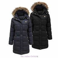 Ladies Padded Quilted Puffer Long Parka Fur Hooded Jacket Womens Coat 8-24