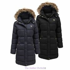 Ladies Padded Quilted Puffer Long Parka Fur Hooded Jacket Womens Coat 8-24 Navy 8