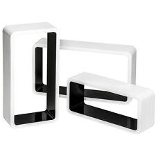 3 Estanterias diseño cubos de pared muro forma estante retro librero b/n NUEVO