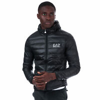Mens Emporio Armani Ea7 Down Jacket In Black- Overall Horizontal Quilted Design