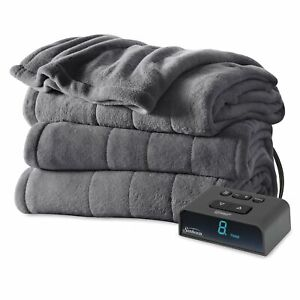 Sunbeam Microplush Heated Blanket with ComfortTech Controller - Queen, Slate