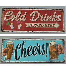 2 Blechschilder Bier Beer cold drinks Blechschild cheers Bar Restaurant Kneipe