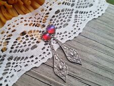 Dragon's Breath Stunning Ox SS intricate setting Event Earrings or gorgeous Gift