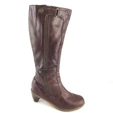 Doc Martens JENNA Brown Leather Tall Boot Leg High Zip Womens Shoe SIZE US 6
