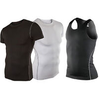 Mens Compression Under Skin Base Layer Tight Vest Tops Sports T-Shirts Athletic