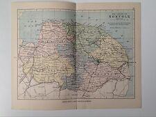 Norfolk antique county map, 1885 couleur,, atlas, yarmouth thetford kings lynn