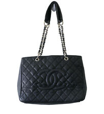 CHANEL Black Grand Matelasse Quilted Leather Gold Chain Strap Tote Shoulder Bag