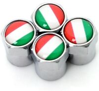 Dust Caps x4 Italian Flag Logo Chrome Tyre Valve Badge Fiat 500 Alfa Romeo Vespa