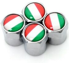 x4 Italian Flag Logo Chrome Dust Caps Tyre Valve Badge Fiat 500 Alfa Romeo Vespa