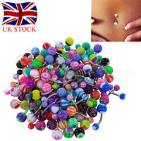 UK 100pcs Belly Button Navel Ring Bars Stain Steel Gem Body Piercing Jewellery