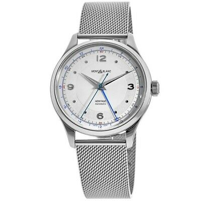 New Montblanc Heritage Automatic GMT Silver Dial Steel Mesh Men's Watch 119949