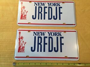 Retired New York License Plate Matched Pair Vanity JRFDJF Statue of Liberty 🗽