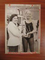 Vintage Glossy Press Photo Natick MA Dancer Holds Trophy Exterior Leotard 1980s