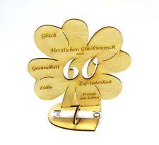 60. Geburtstag Kleeblatt großes Geldgeschenk 16cm Glückwunsch Geschenk Holz DIY