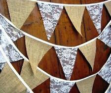 2.8M WEDDING BURLAP HESSIAN JUTE & WHITE LACE VINTAGE RUSTIC BUNTING BANNER
