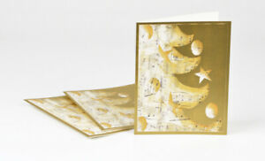 Gold Music Tree Christmas Cards, Box of 16 cards and envelopes, Holiday Greeting