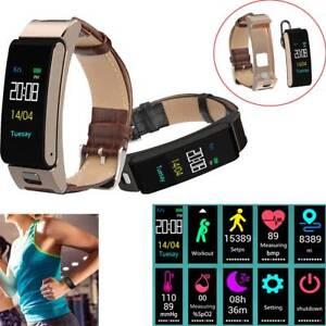 Handsfree Wireless Headset Bluetooth Smart Watch Fitness Tracker Phone Mate