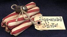 Five Primitive *Peppermint Stick* Bowl Fillers/Ornies-Tie W/Rusty Bells-Prim Tag
