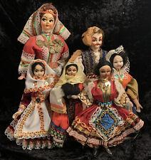 Bulk Lot Of 6 Vintage Dolls Mediterranean Greece Collectable National Costume