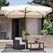 Ombrellone da giardino 3 x 3 in legno con palo centrale copertura superiore ecru