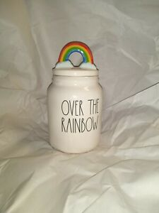 RAE DUNN NEW OVER THE 🌈 RAINBOW CANNISTER WITH TOPPER