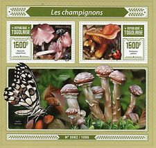 Togo 2015 MNH Mushrooms 2v S/S Fungi Champignons Beetles Ladybirds Butterflies