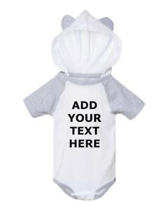 Custom Baby Bodysuit Raglan One-Piece Jump Suit Hood Ears Your Own Text Name