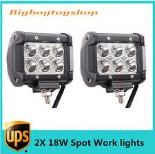2pcs 4INCH 18W CREE LED WORK LIGHT BAR SPOT BEAM DRIVING JEEP TRUCK SUV ATV UTE