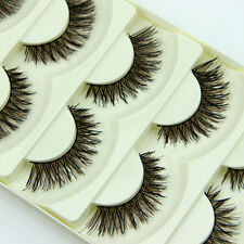 5 pairs Handmade Long False Eyelashes Makeup Natural Fake Thick Big Eye Lashes