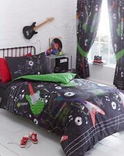 Black and Green Guitar Music Rock Star Single Duvet Cover Bedding Set