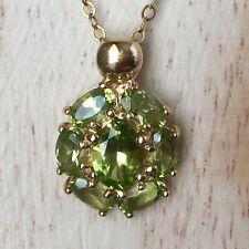 14kt pendant necklace Green Peridot cluster yellow gold 585 karat