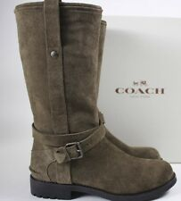 NIB COACH 6.5 Women's Fatigue 100% Nubuck Suede VALLIE Side Zip Mid-Calf Boot