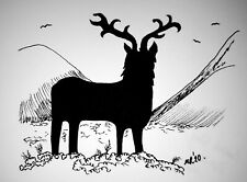 DAILY SKETCH Original Ink Drawing 'Scottish Stag' by Michelle Ranson