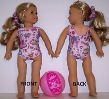 """3 Piece Set Swim Suit Beach Ball & Scrunchie made to fit 18"""" American Girl Dolls"""