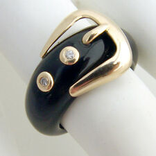 Onyx Buckle Ring 14 K Gold Diamonds