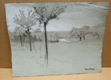 MARCEL MANGIN (1852-1915) dessin sur papier paysage arbres