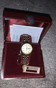 Vintage Ladies Citizen Gold Plated Bracelet Dress Watch in Original Box New