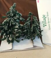 Dept 56 General Village Accessory 1996 VILLAGE FROSTED SPRUCE TREES 2 Pc 52637