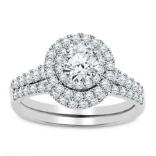 10K White Gold Fn 2Ct Round Cut Diamond Engagement Ring Bridal Set Women's