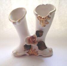 "Double Bud Vase Holder Ceramic Sculpture Figurine Home Decor 5.5"" Tall 4.5"" Wid"