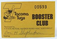scarce 1979 TACOMA TUGS BOOSTER CLUB Membership Card PCL baseball minor league