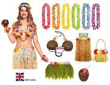 HAWAIIAN FANCY DRESS COSTUME Ladies Hula Lei Garland Coconut Bra Hen Party Lot
