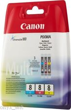 3 Genuine Canon CLI-8 CMY Ink Cartridges Tri Colour WO Box Cyan Magenta Yellow