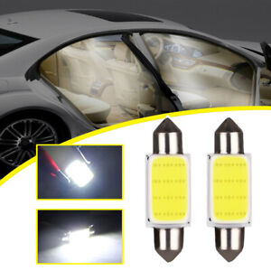 2x White COB 39mm Festoon LED Interior Dome Reading Light Car Xenon Lamp Bulbs