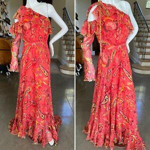 Etro Red Paisley Silk One Sleeve Ruffled Evening Dress