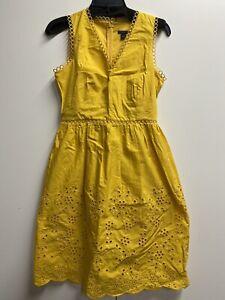 Ann Taylor NWOT Petite Op Yellow Eyelet Dress