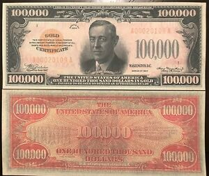 Reproduction 1934 $100,000 Bill Gold Cert Read Description Below In Listing