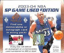 2003-04 NBA SP Game Used Edition Sealed Hobby Box 3 cards/pack 6 packs/box